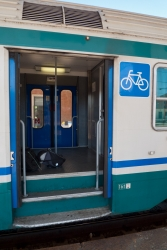 Some older regional trains have steps to the bike compartment