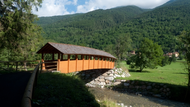 Bridge on the Alta Valle Camonica cycleway in Lombardia