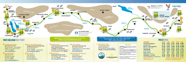 Map of bike-rental points on the Ciclabile della Valsugana