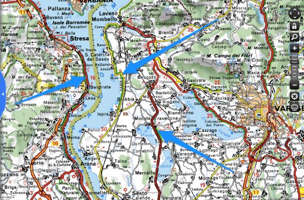 Screenshot from viamichelin.co.uk showing roads around the Lago Maggiore