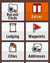Garmin eTrex20 screenshot: Extras