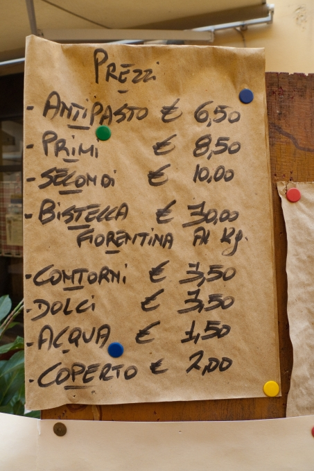 Restaurant price list