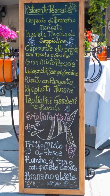 Restaurant menu board - Grado (Veneto)