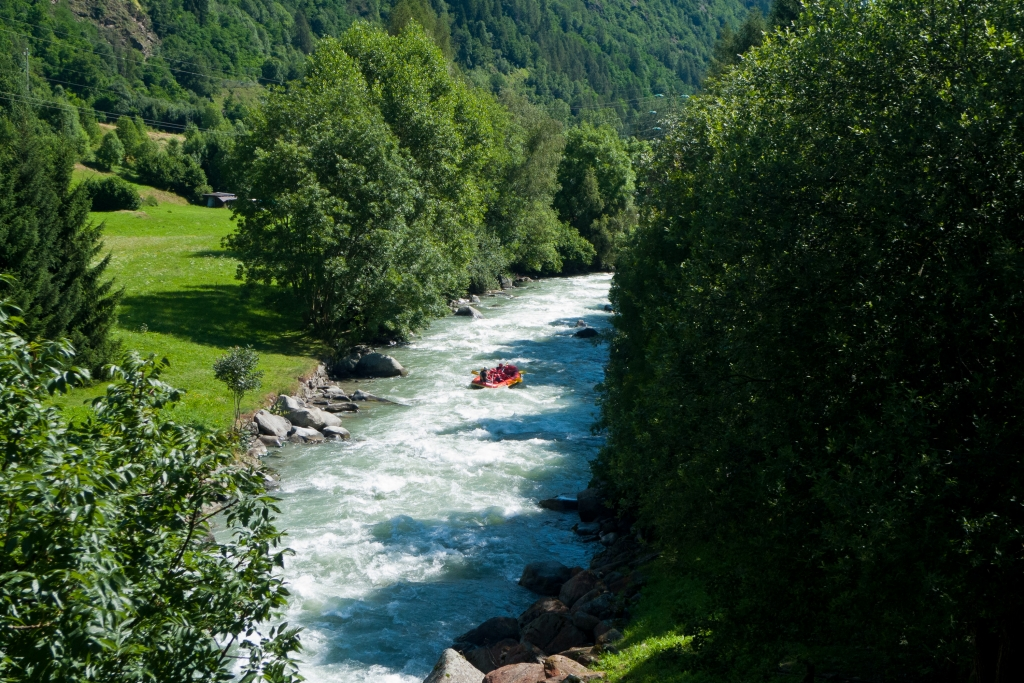 Whitewater rafting on the Torrente Noce - near the Val di Sole cycleway