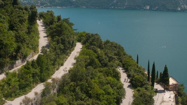The Strada del Ponale with the Lago di Garda in the background