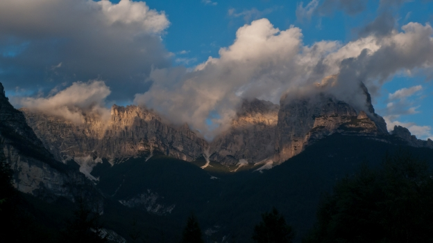 Sunset in the Dolomites near Forno di Zoldo (Veneto)