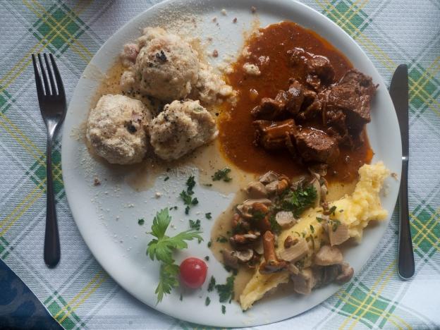Gulasch, polenta and canederli