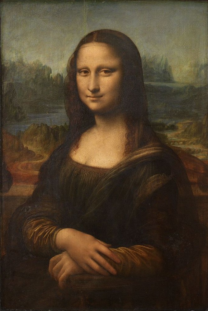 The Mona Lisa (La Gioconda) by Leonardo da Vinci. With, possibly, the river Arno and the Ponte a Buriano over her right shoulder. Source:  Wikimedia Commons