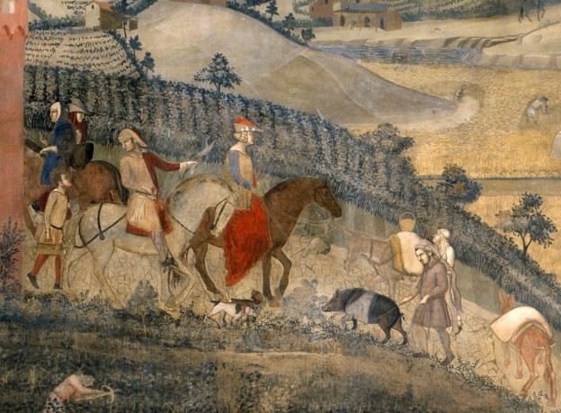 Ambrogio Lorenzetti: the Effects of Good Government in the Countryside. Detail showing a cinta senese pig (Siena Palazzo Pubblico)