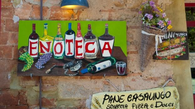 Sign outside an enoteca (wine bar) Bolgheri (Toscana)