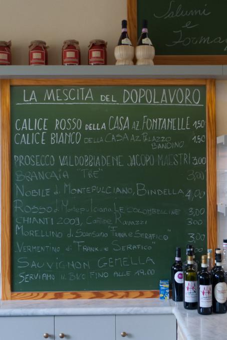 Wine list in a bar in Toscana (the Dopolavoro at La Foce near Montepulciano)