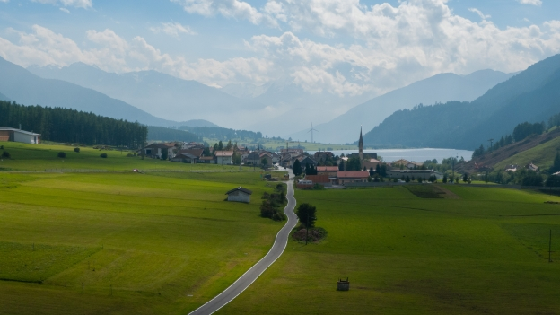 Via Claudia Augusta, looking down towards the Vinschgau (Val Venosta)