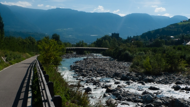 cycleway beside the Adige (Etsch) river near Meran (Merano)