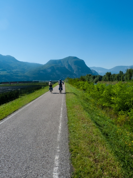 Cycleway between Bozen (Bolzano) and Trento part of the Ciclopista del Sole and Via Claudia Augusta