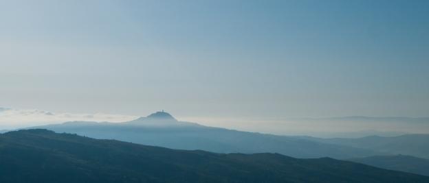 The Rocca di Radicofani in the early morning mist