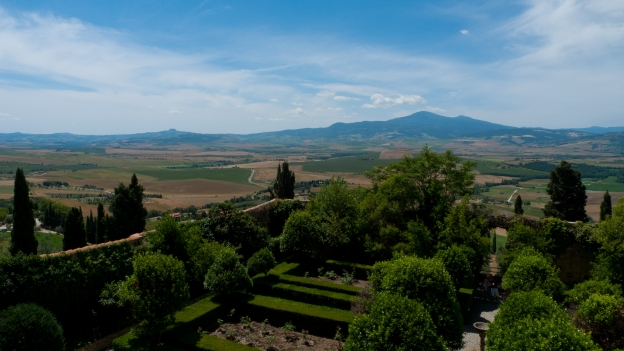 The Val d'Orcia and Monte Amiata see from the loggia of the palazzo Piccolomini