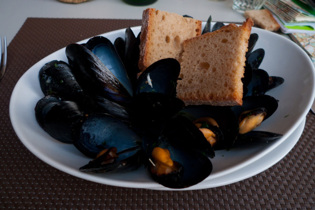 Muscoli (mussels - but 'muscoli' is also the Italian word for 'muscles') Liguria