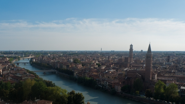 View of Verona from the steps to the castello