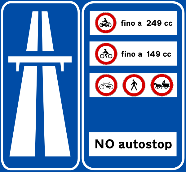 Example of a sign at the entrance to a superstrada