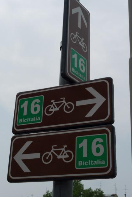 Bicitalia cycleway signs near Parma
