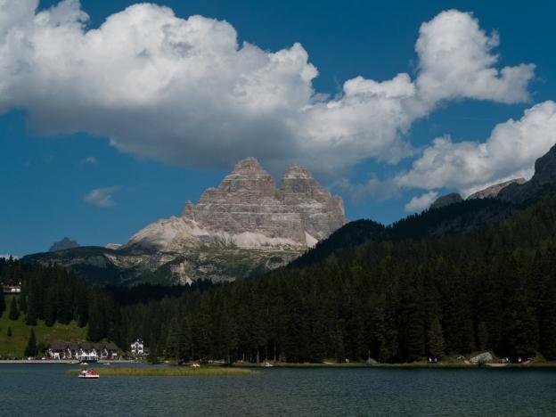 The Lago di Misurina with the Tre Cime di Laveredo in the distance
