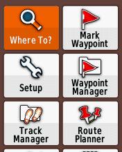 Garmin eTrex20 screenshot: Where To?