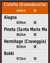 Garmin eTrex20 screenshot: select campsite POI