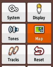 Garmin eTrex20 screenshot: set up map