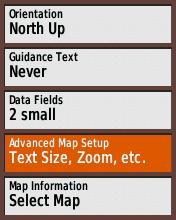 Garmin eTrex20 screenshot: map zoom options