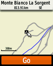 Garmin eTrex20 screenshot: campsite POI displayed on map
