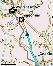 Garmin eTrex20 screenshot: POIs shown on map