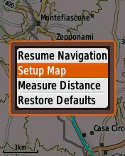 Garmin eTrex20 screenshot: set up map menu option