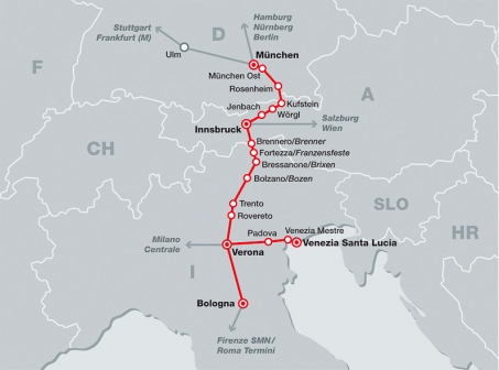 DB-ÖBB Eurocity network map showing services between Munich, Innsbruck Verona, Venezia and other Italian cities