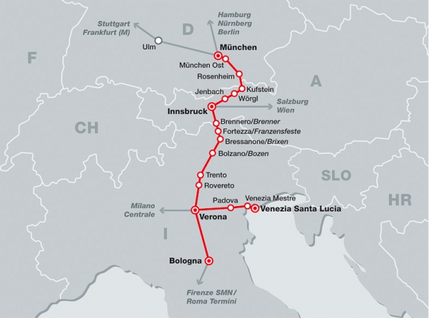 DB-ÖBB Eurocity network map showing services between Munich, Innsbruck Verona, Venezia and other Italian cities