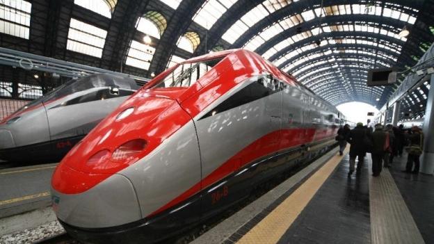 Frecciarossa high speed train in Milano Centrale station