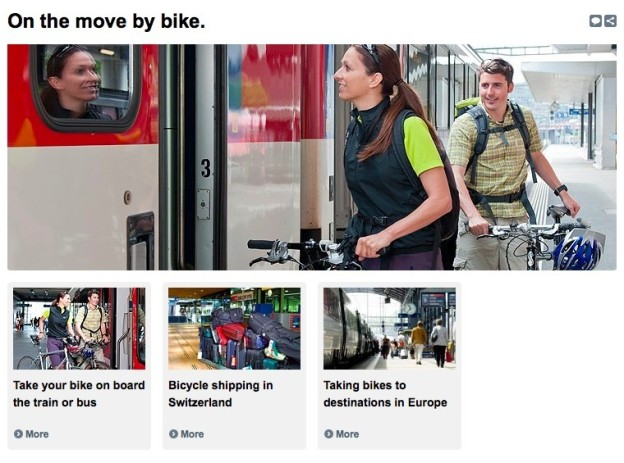 Screenshot from the bike section of the Swiss Railways website