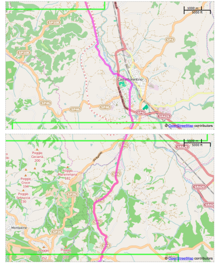 Sample of the mapping from the Via Francigena Bike website.