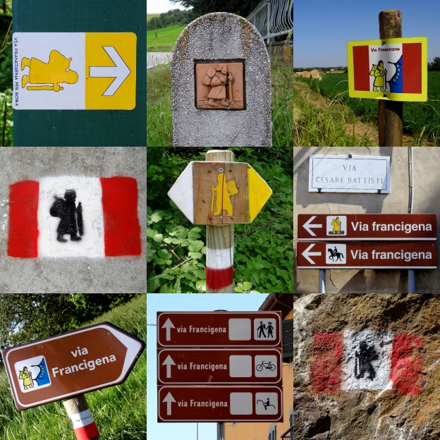 Signs on the Via Francigena in Italy