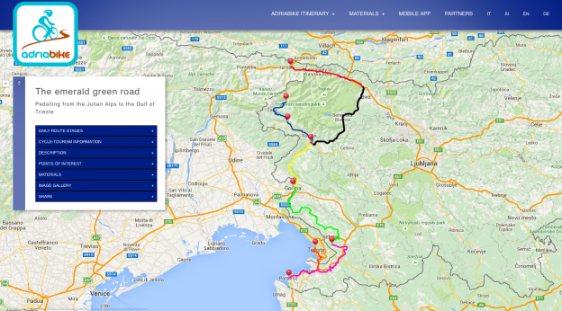 Screenshot from the adriabike.eu website showing the first section of the route