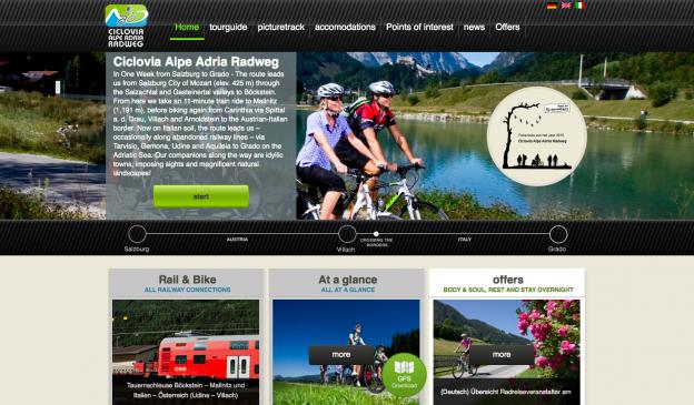 Screenshot of the alpe-adria-radweg.com home page