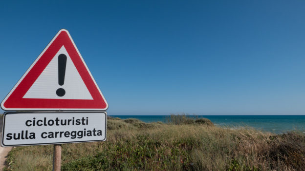 'Cycle tourists on the road' - sign on the SIBIT route on the coast of southern Sicilia