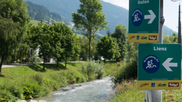 Signs on the Drauradweg (Ciclabile della Drava)
