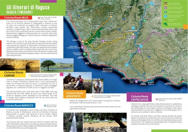 SIBIT leaflet showing cycle touring routes in the Ragusa area