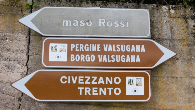 Signs on the Via Claudia in the Trentino