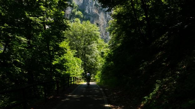 Cyclist on the Ciclabile della Valsugana cycleway near Enego (Veneto)