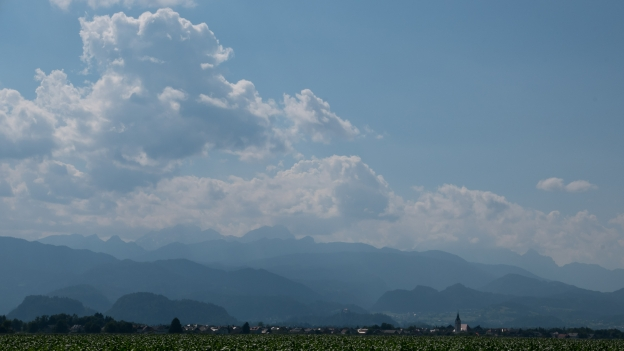 View of the mountains near Radovljica