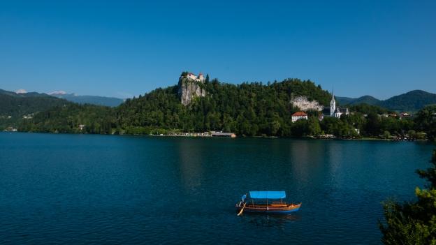 Pletna boat on Lake Bled (Bledjsko jezero)