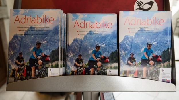 Adriabike maps on display in the Kobarid TIC