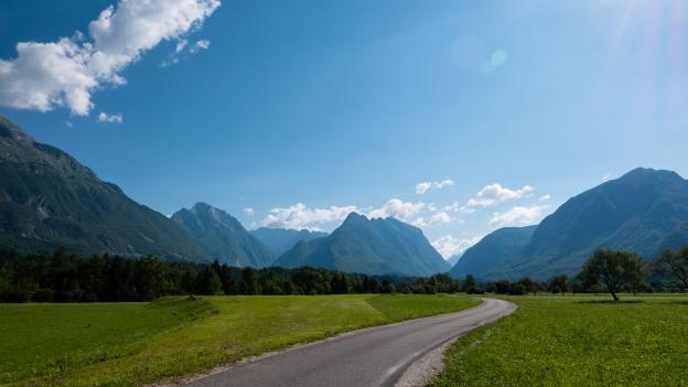 The road to Bovec near Čezsoča