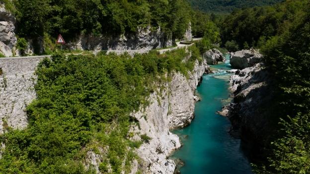 The Soča river near Kobarid - seen from the Napoleon bridge